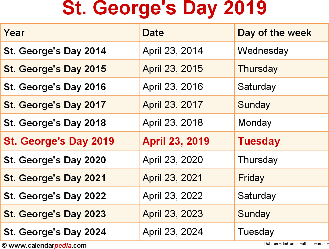 Calendar For Year 2019 Greece With When Is St George S Day 2020 Dates Of