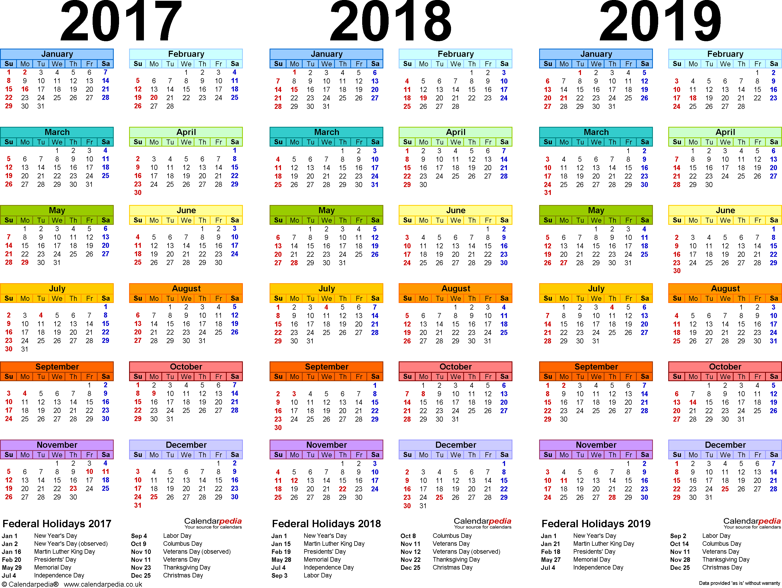 Calendar For Year 2019 India With 2017 2018 4 Three Printable PDF Calendars