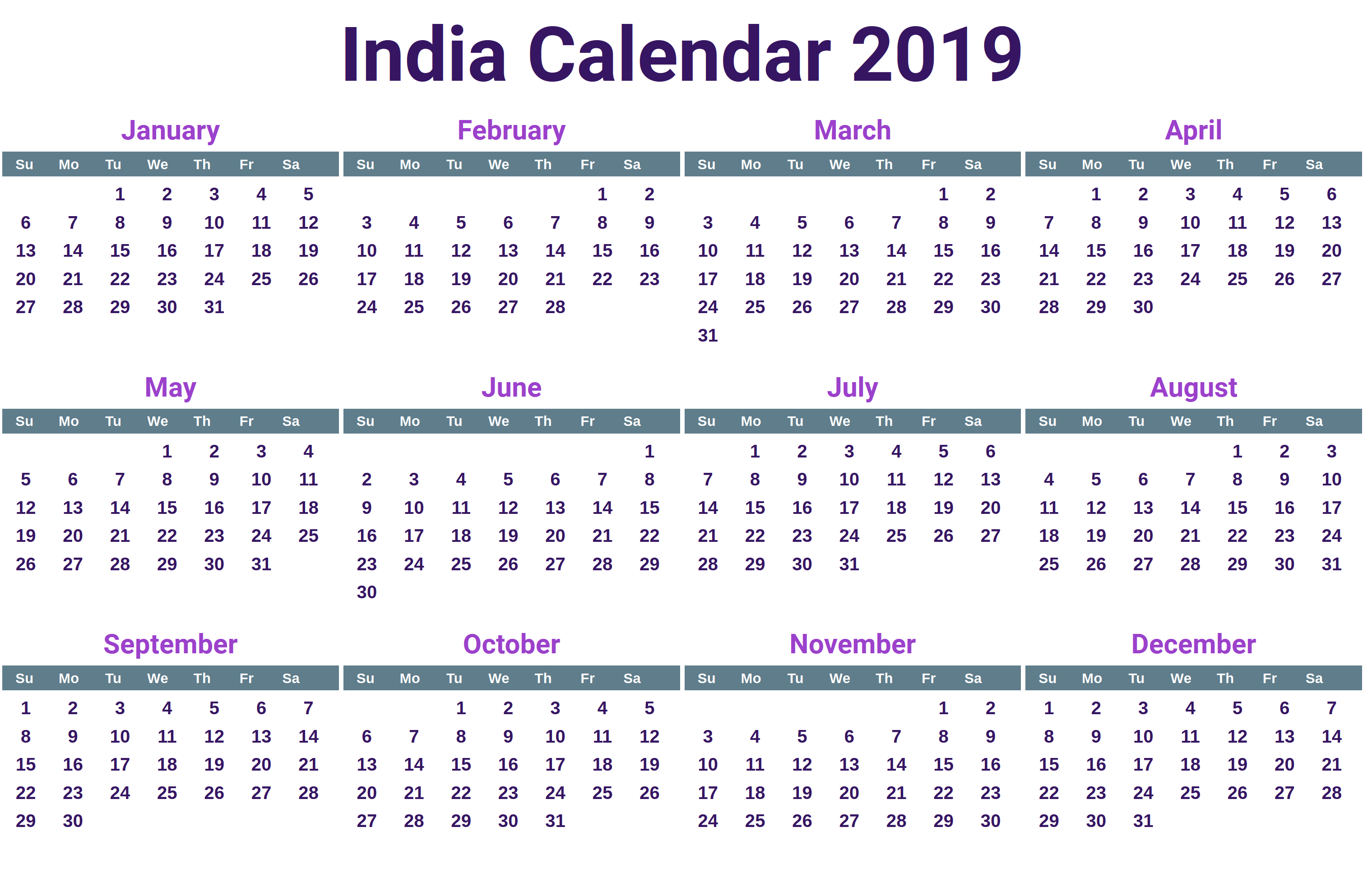 Calendar For Year 2019 India With Free Printable Indian Holidays April 2018