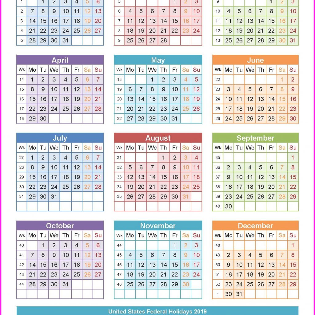 Calendar For Year 2019 India With Holiday 2 Free Coloring Pages