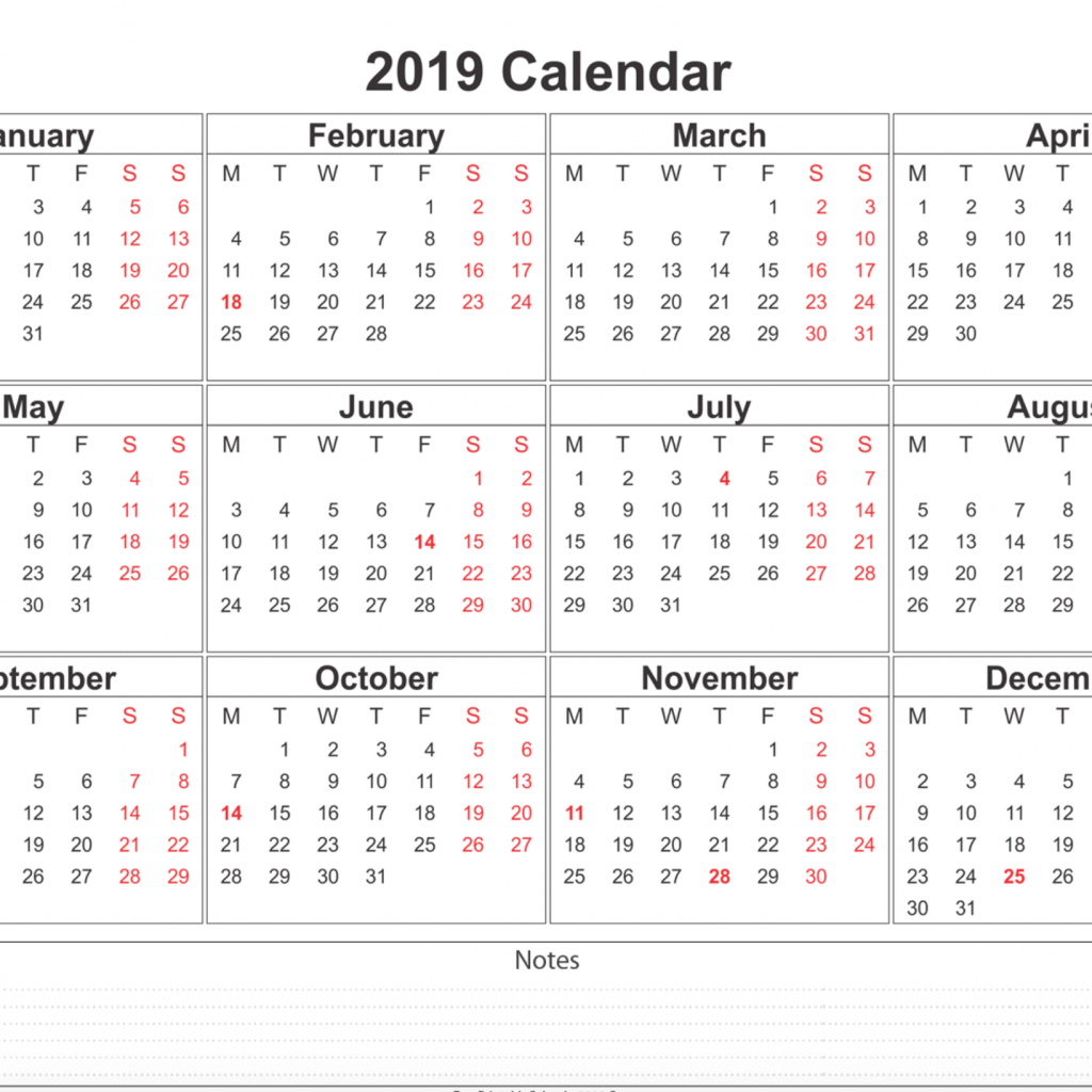 Calendar For Year 2019 India With Printable Templates Online