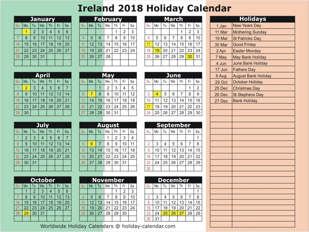 Calendar For Year 2019 Ireland With 2018 Holiday