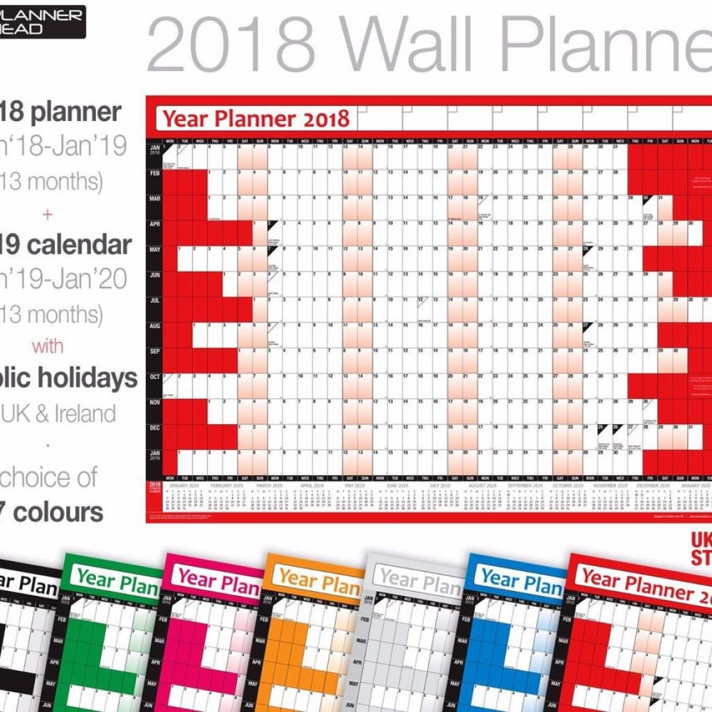 Calendar For Year 2019 Ireland With 2018 Yearly Planner Coloured Wall Chart