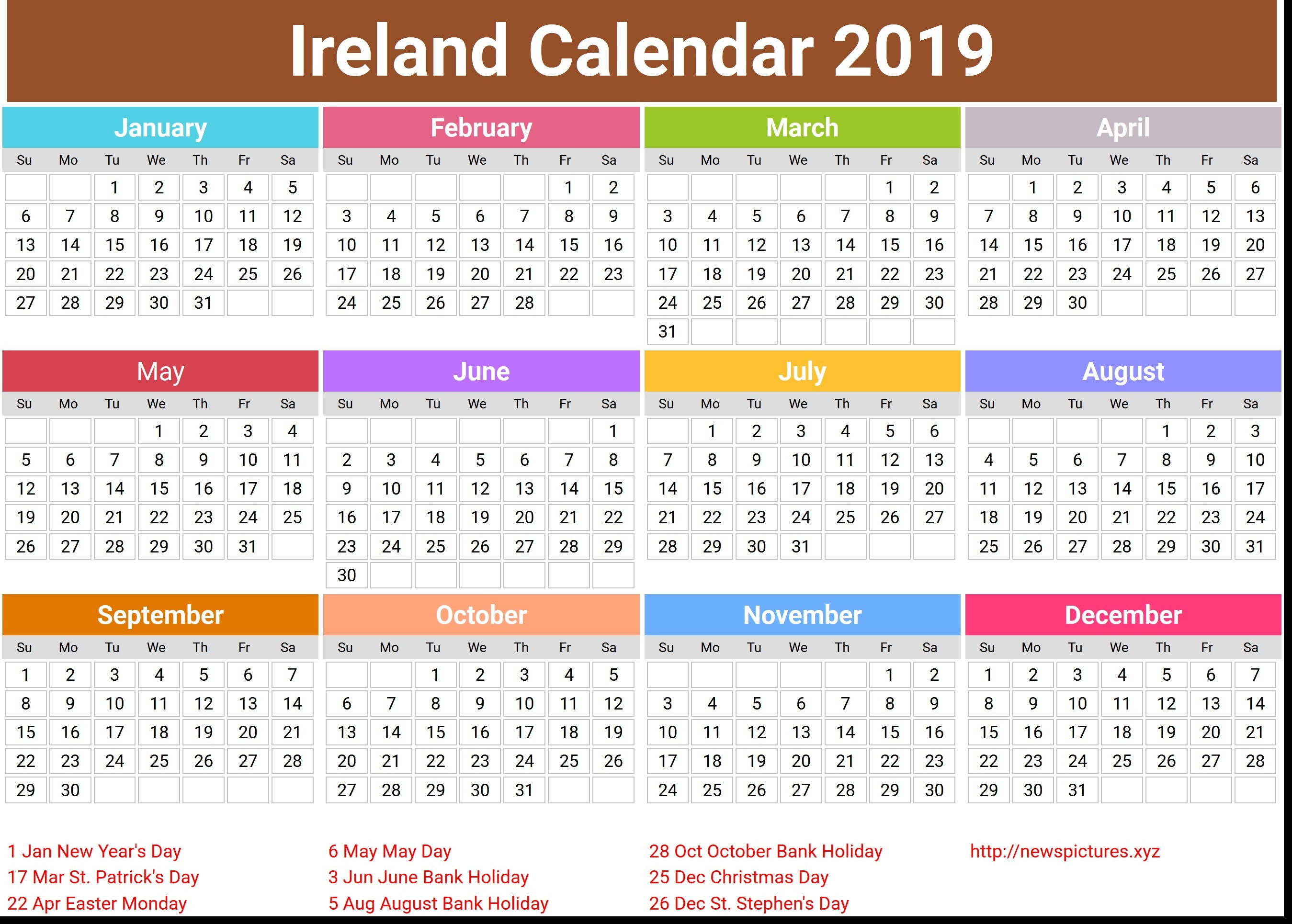 Calendar For Year 2019 Ireland With Imminent Routine Shop Uk Europe Appointments