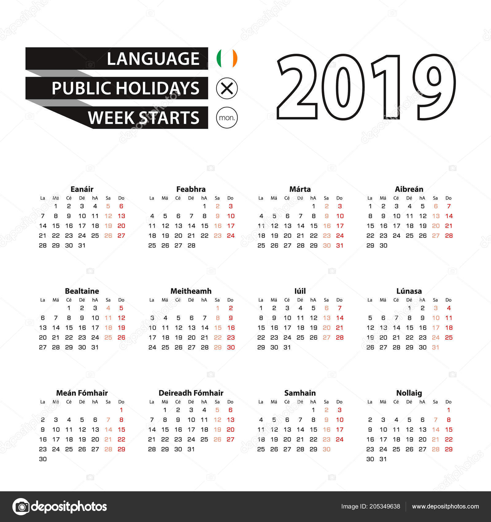 Calendar For Year 2019 Ireland With Irish Language Week Starts Monday Vector
