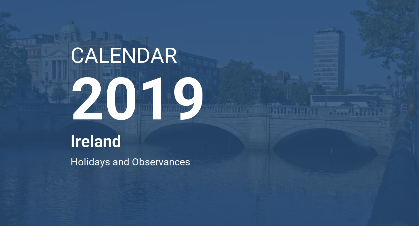 Calendar For Year 2019 Ireland With