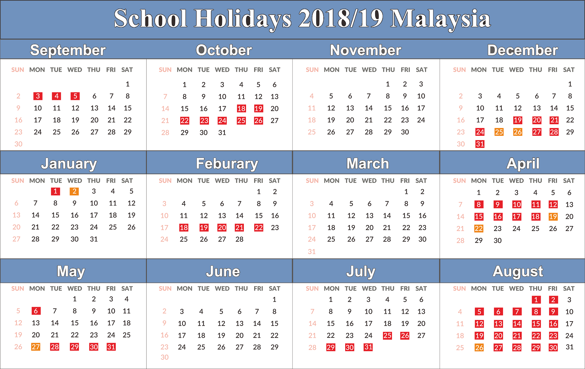 Calendar For Year 2019 Malaysia With Free Yearly Printable Blank School Holidays