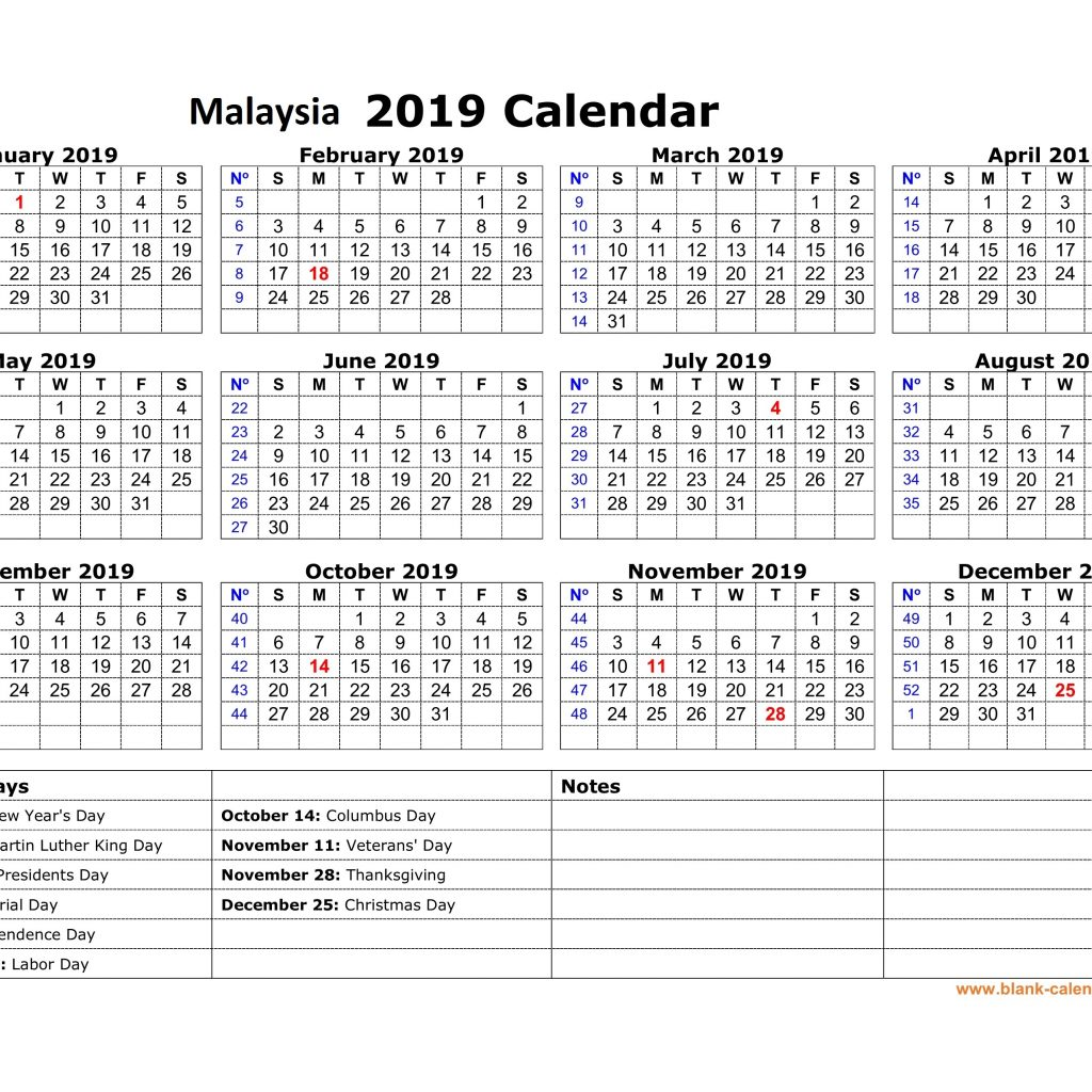 Calendar For Year 2019 Malaysia With Printable Yearly Holidays Free Template