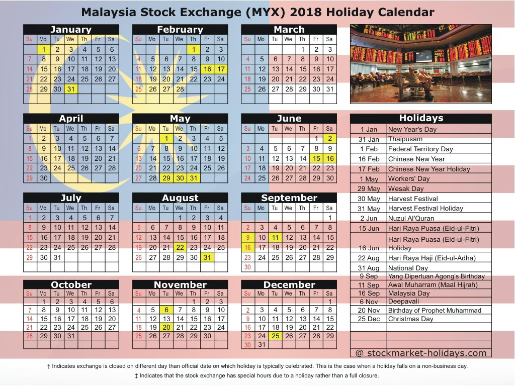 Calendar For Year 2019 Malaysia With Stock Exchange 2018 Holidays MYX
