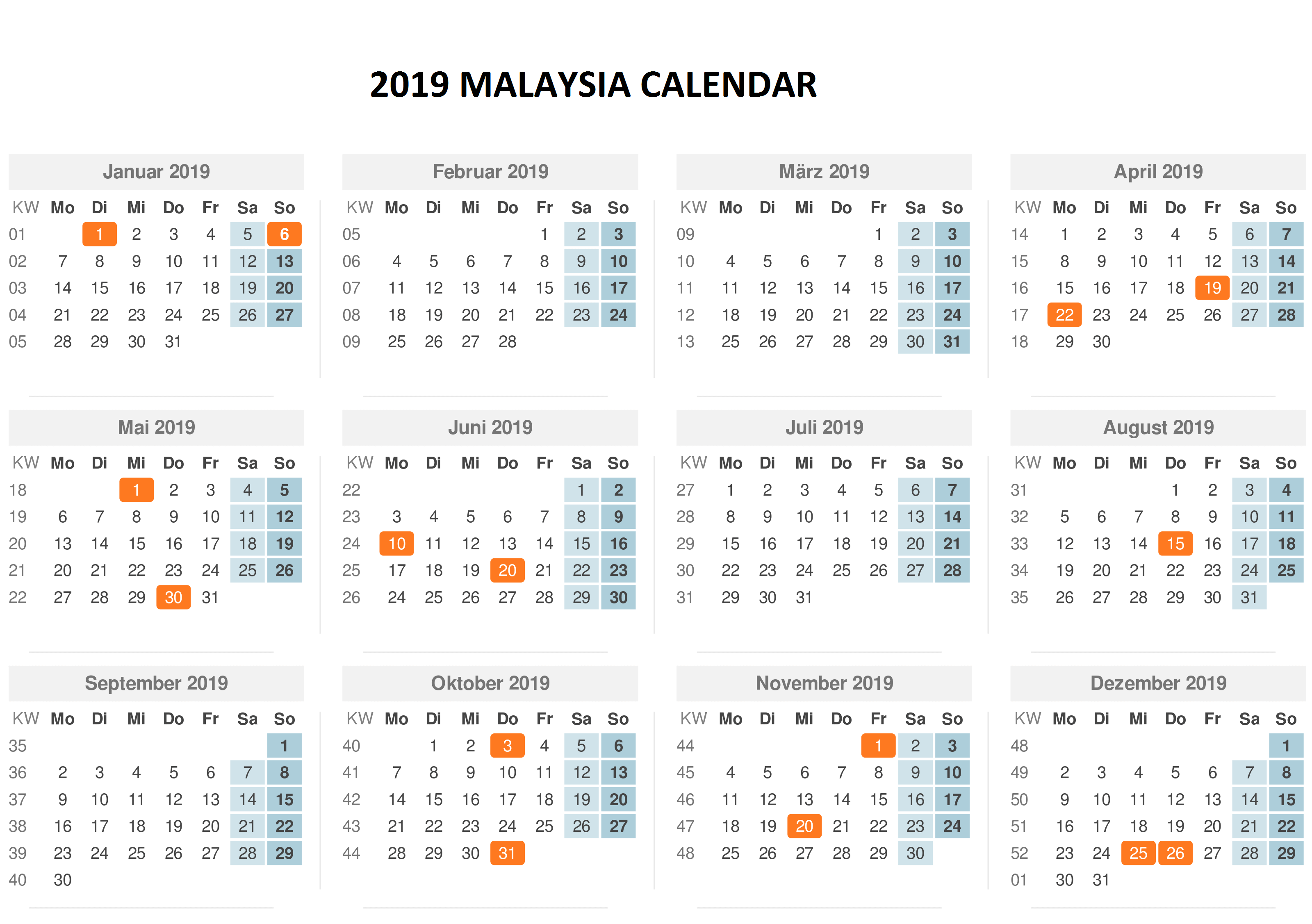 Calendar For Year 2019 Malaysia With Template PDF Excel Word Download