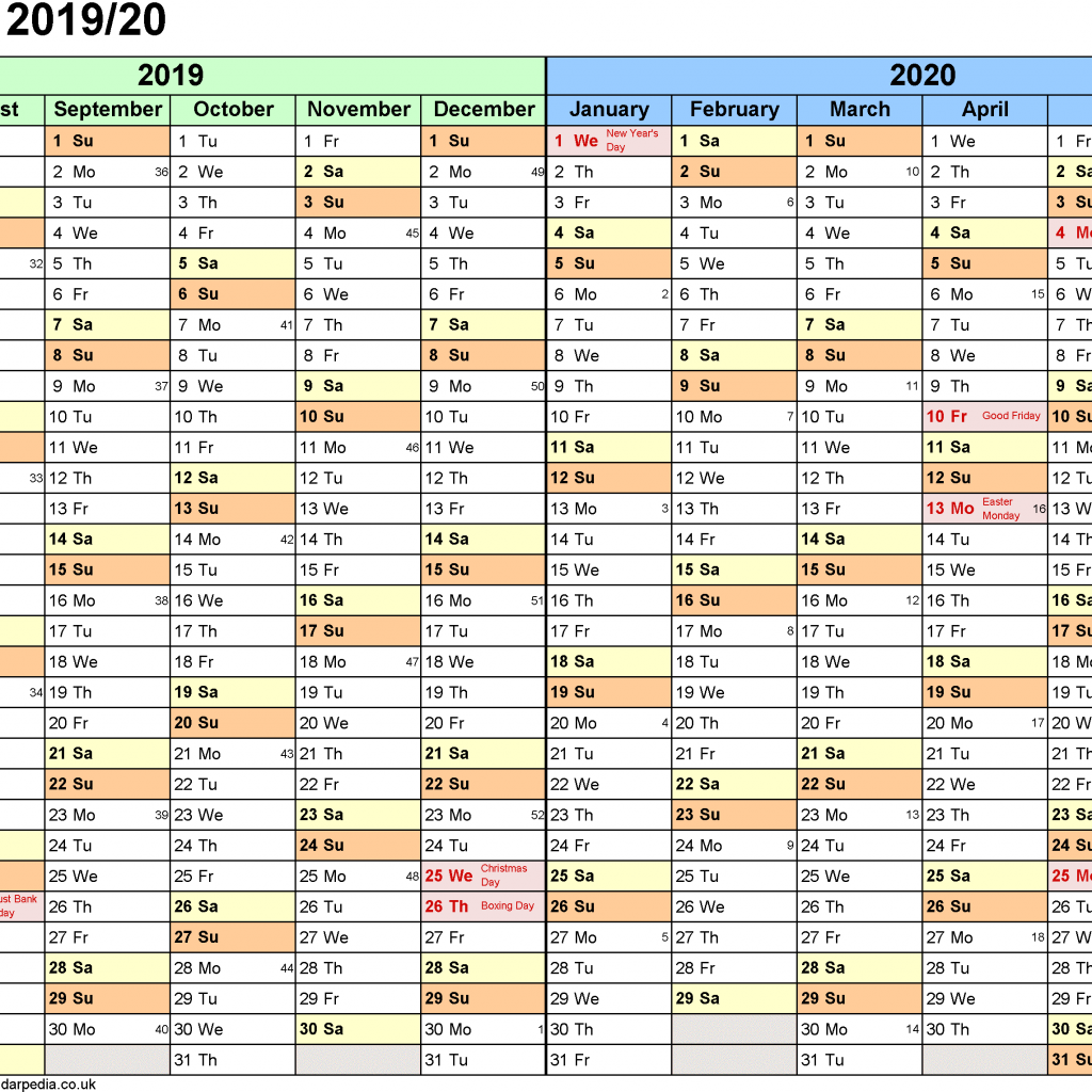 Calendar For Year 2019 New Zealand With Split Calendars 20 July To June PDF UK Version