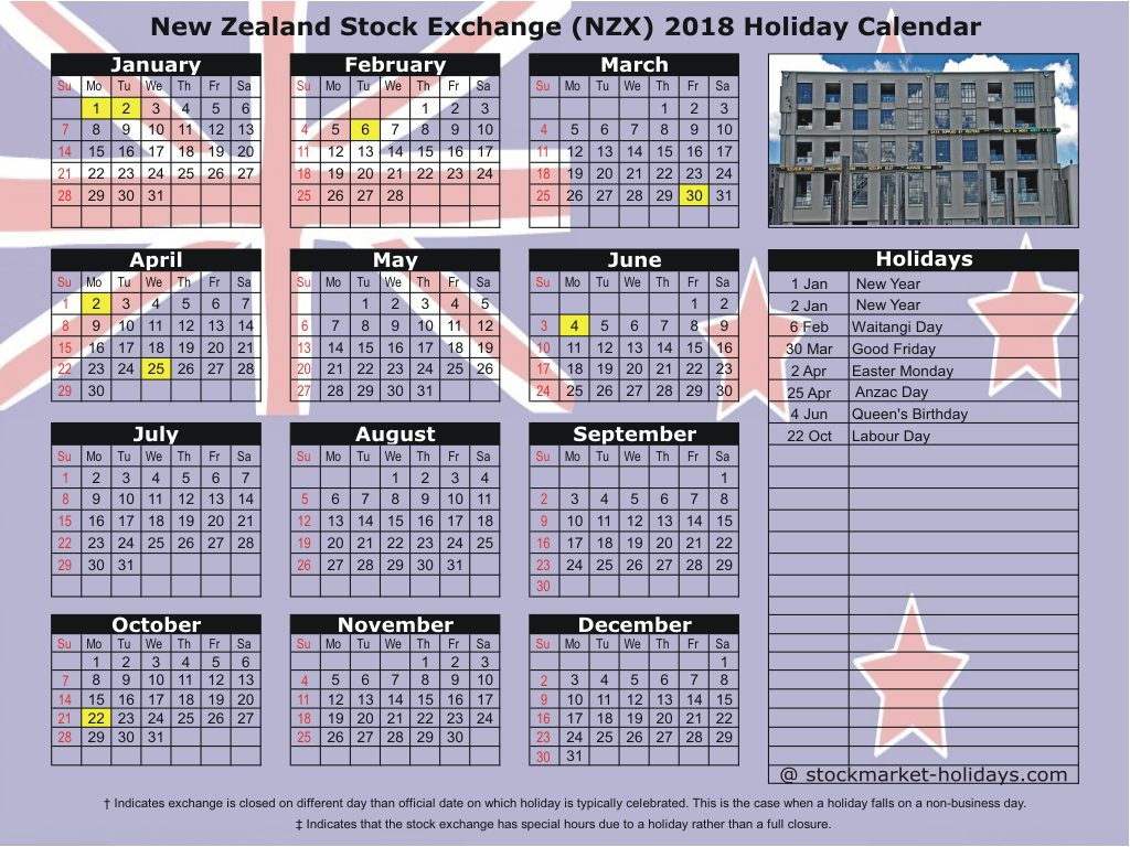 Calendar For Year 2019 New Zealand With Stock Exchange 2018 Holidays NZX