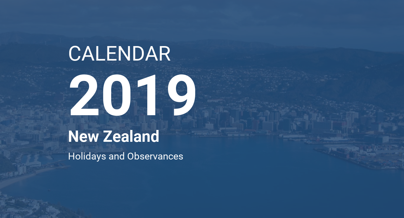 Calendar For Year 2019 New Zealand With