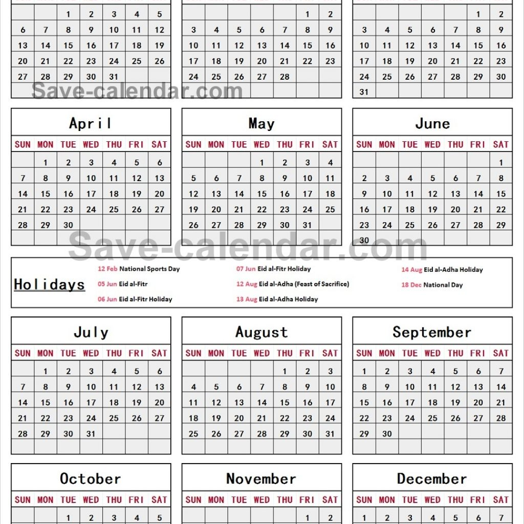 Calendar For Year 2019 Qatar With National Holidays Templates