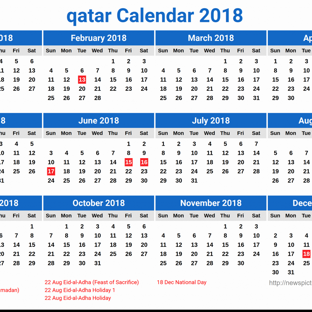 Calendar For Year 2019 Qatar With Pdf Free Coloring Pages
