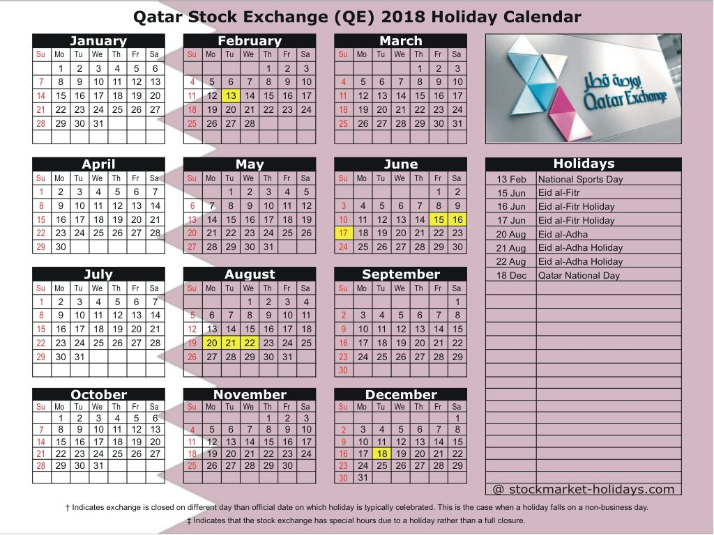 Calendar For Year 2019 Qatar With Stock Exchange 2018 Holidays QE