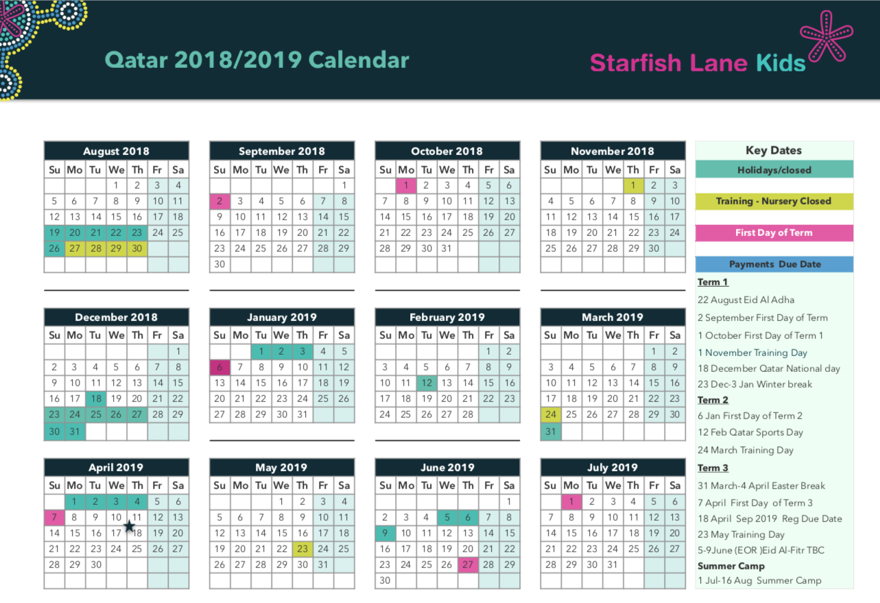 Calendar For Year 2019 Qatar With Yearly
