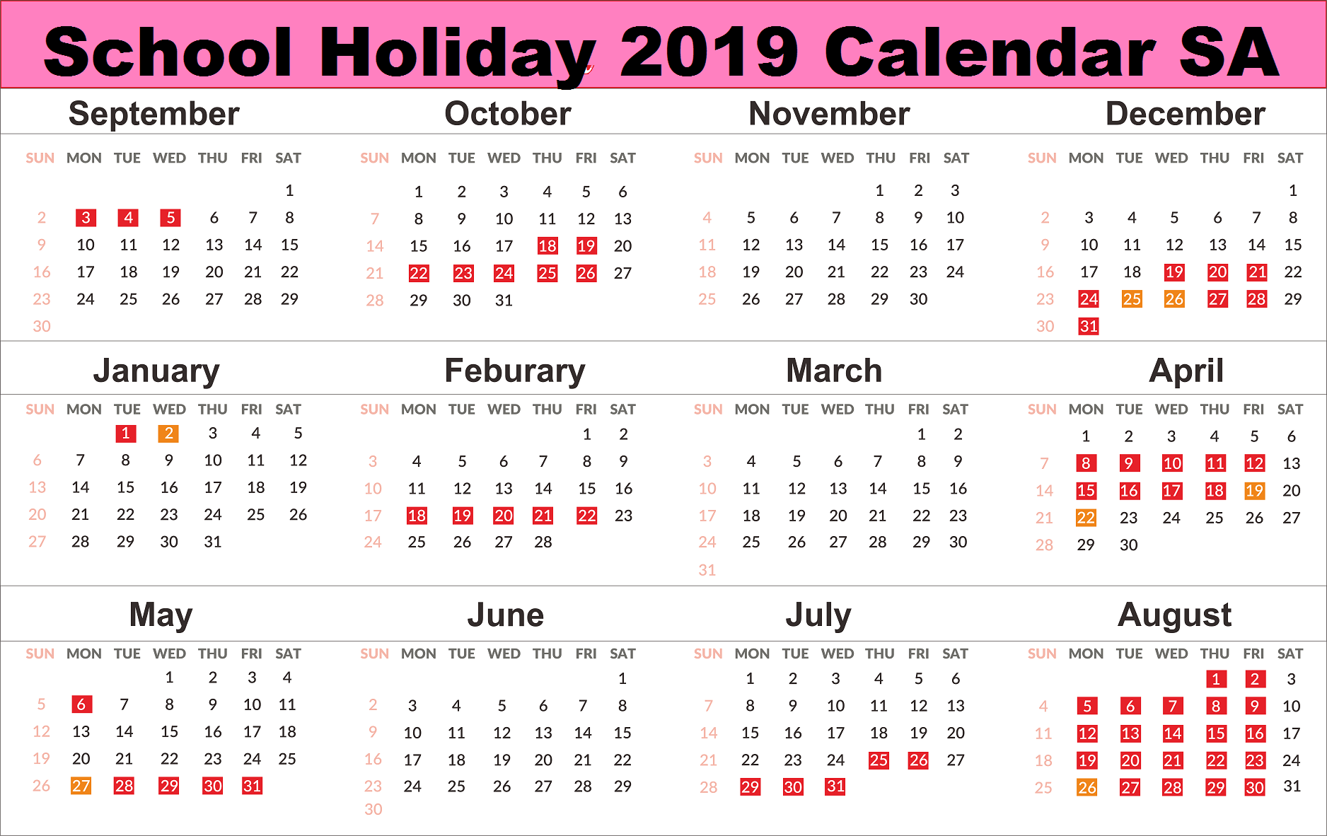 Calendar For Year 2019 Saudi Arabia With Yearly Download School Holidays SA