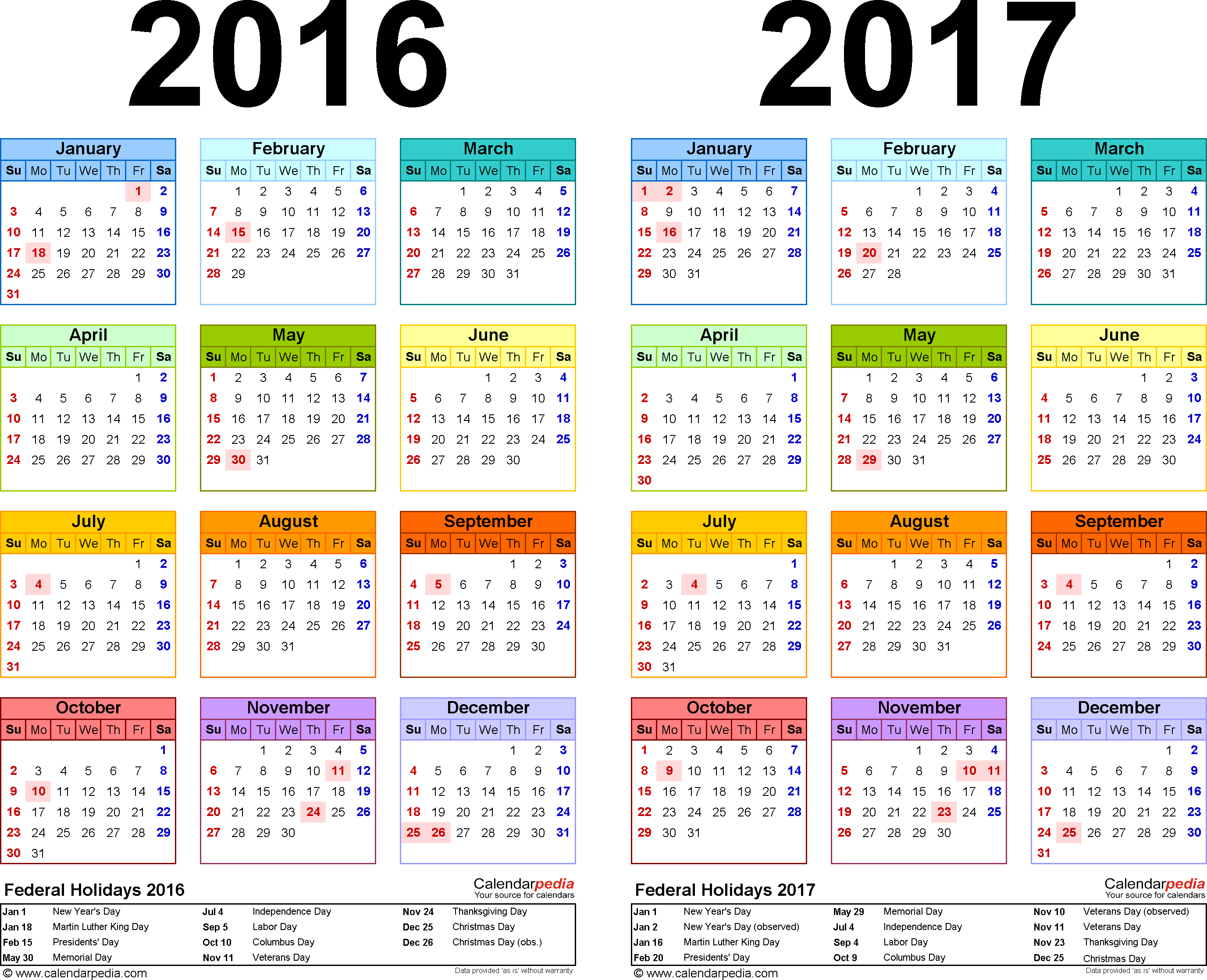 Calendar For Year 2019 South Africa With 2016 2017 Free Printable Two PDF Calendars