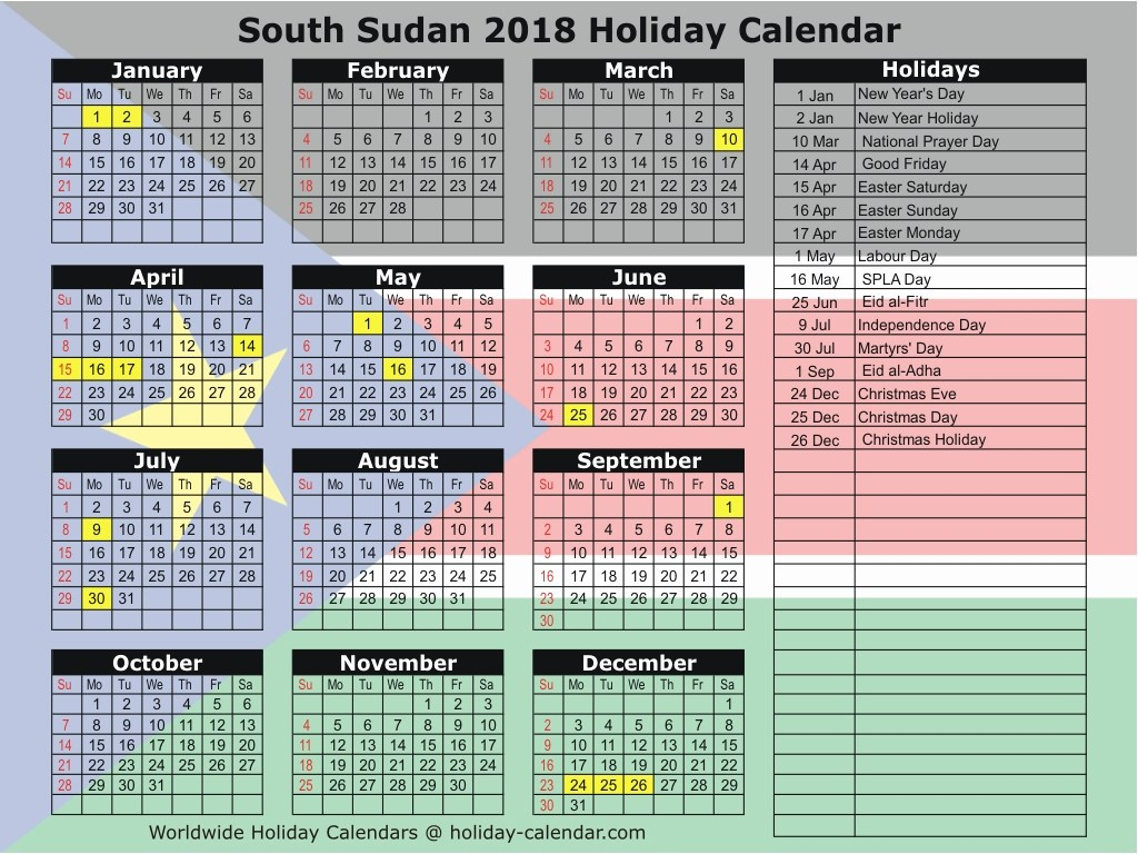 Calendar For Year 2019 South Africa With 2018 Public Holidays And School Terms