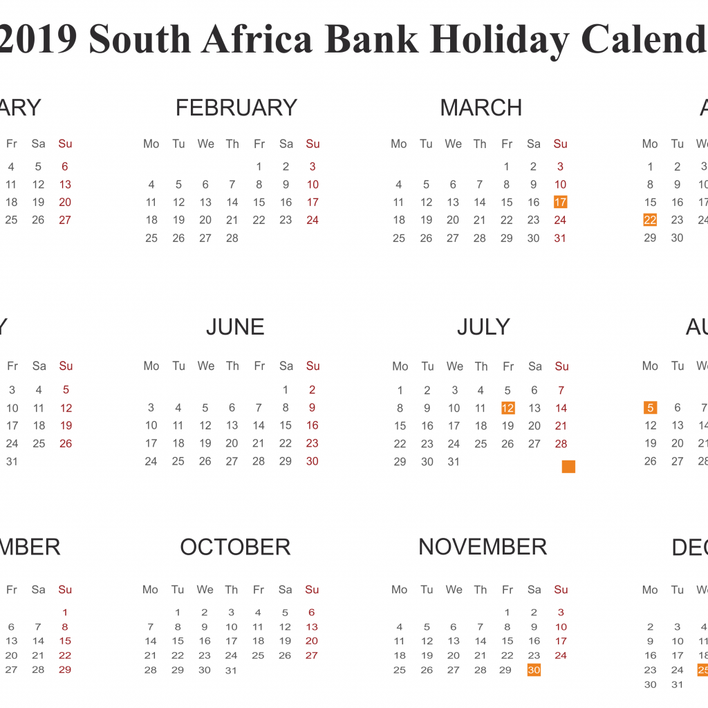 Calendar For Year 2019 South Africa With Free SA PDF Excel Word Templates