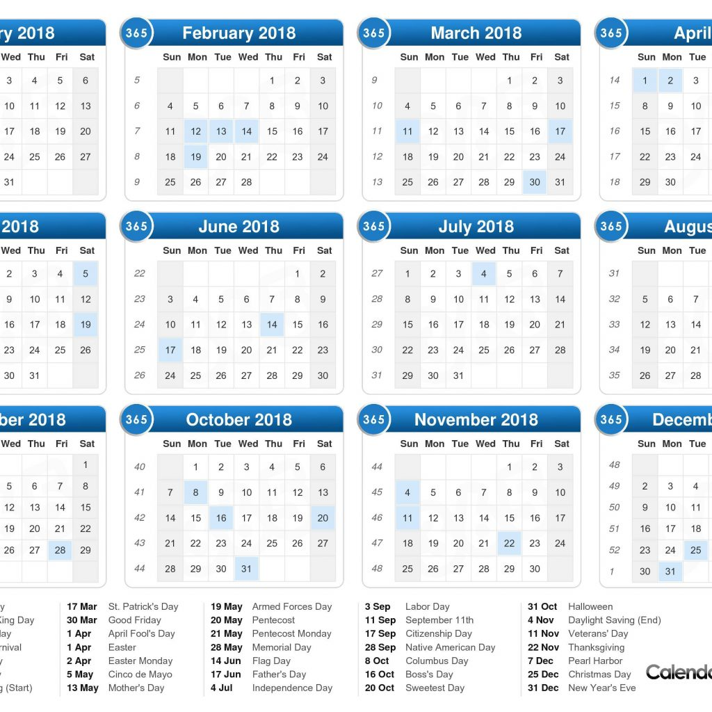 Calendar For Year 2019 Uae With 2018