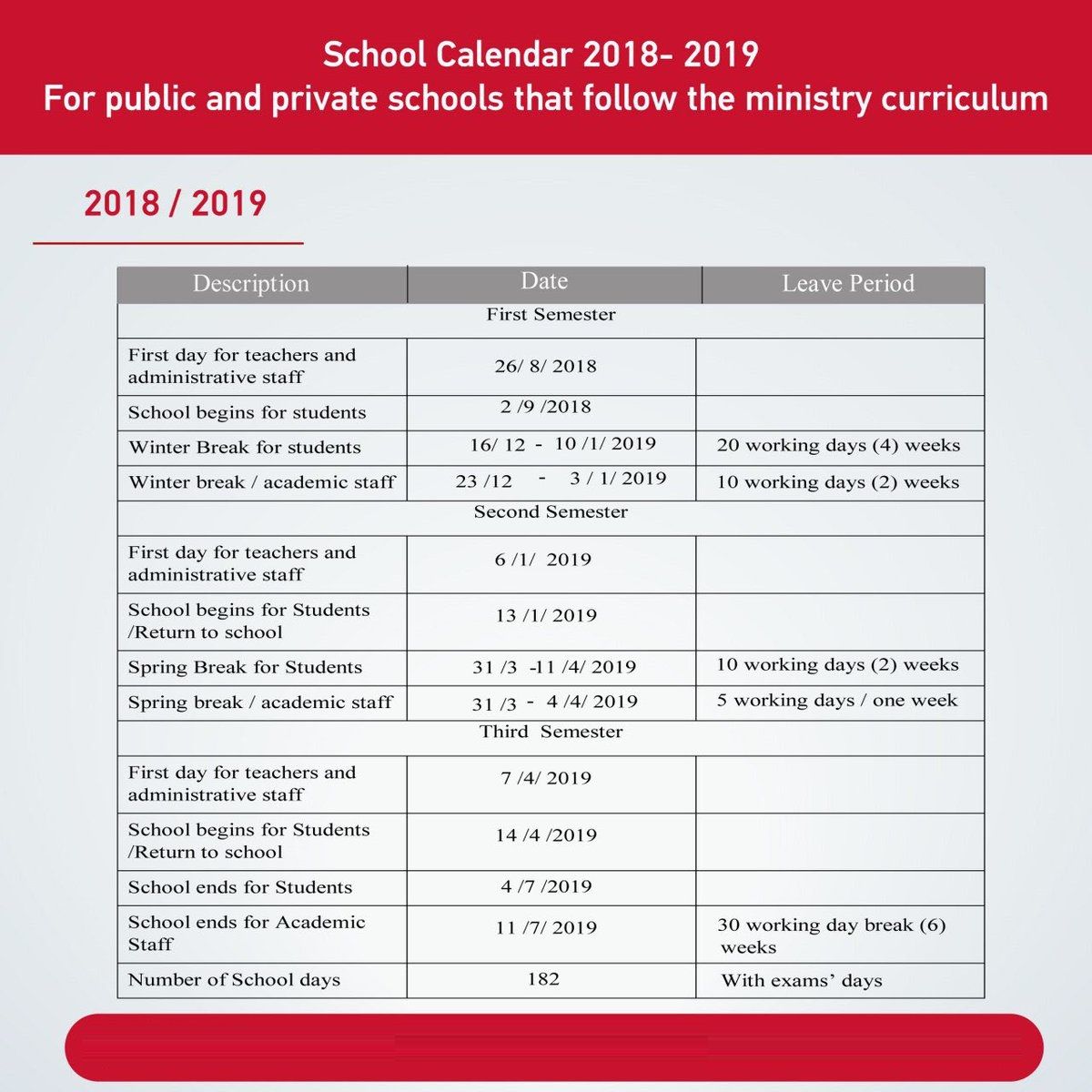 Calendar For Year 2019 Uae With Official UAE School 2018 19 2021 The Academic