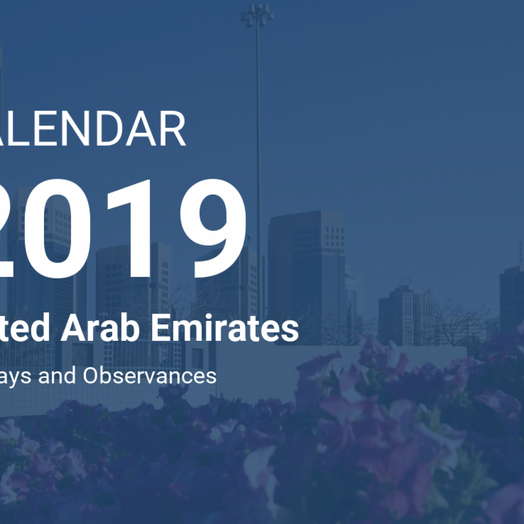 Calendar For Year 2019 Uae With United Arab Emirates