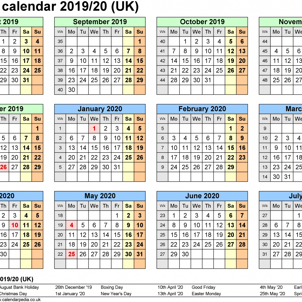 Calendar For Year 2019 Uk With Blank School Holidays UK United Kingdom Download