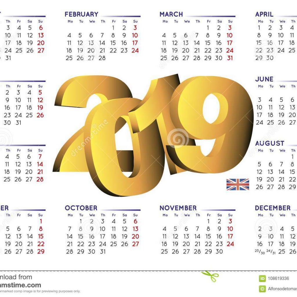Calendar For Year 2019 Uk With In English Horizontal UK Stock Vector Illustration