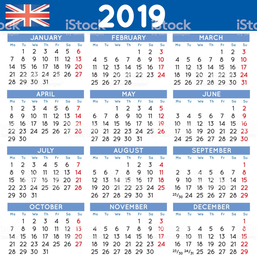 Calendar For Year 2019 Uk With Squared English Week Starts On Monday Stock Vector