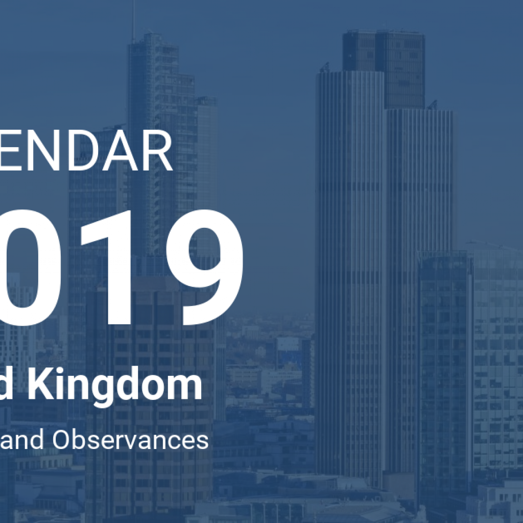Calendar For Year 2019 Uk With United Kingdom