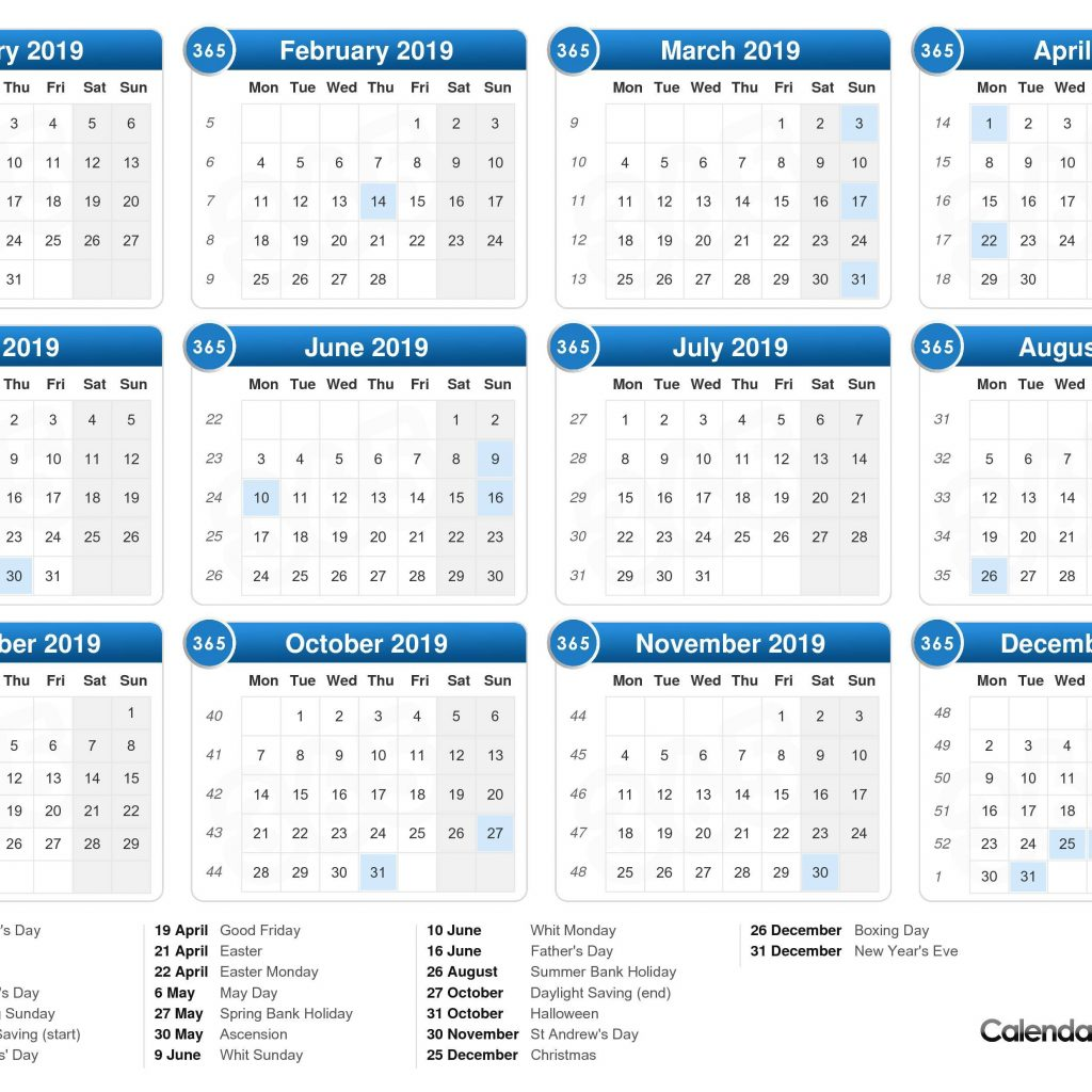 Calendar For Year 2019 United Kingdom With