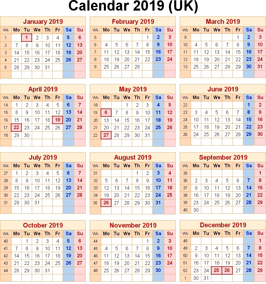 Calendar For Year 2019 United Kingdom With Blank Printable UK Holidays