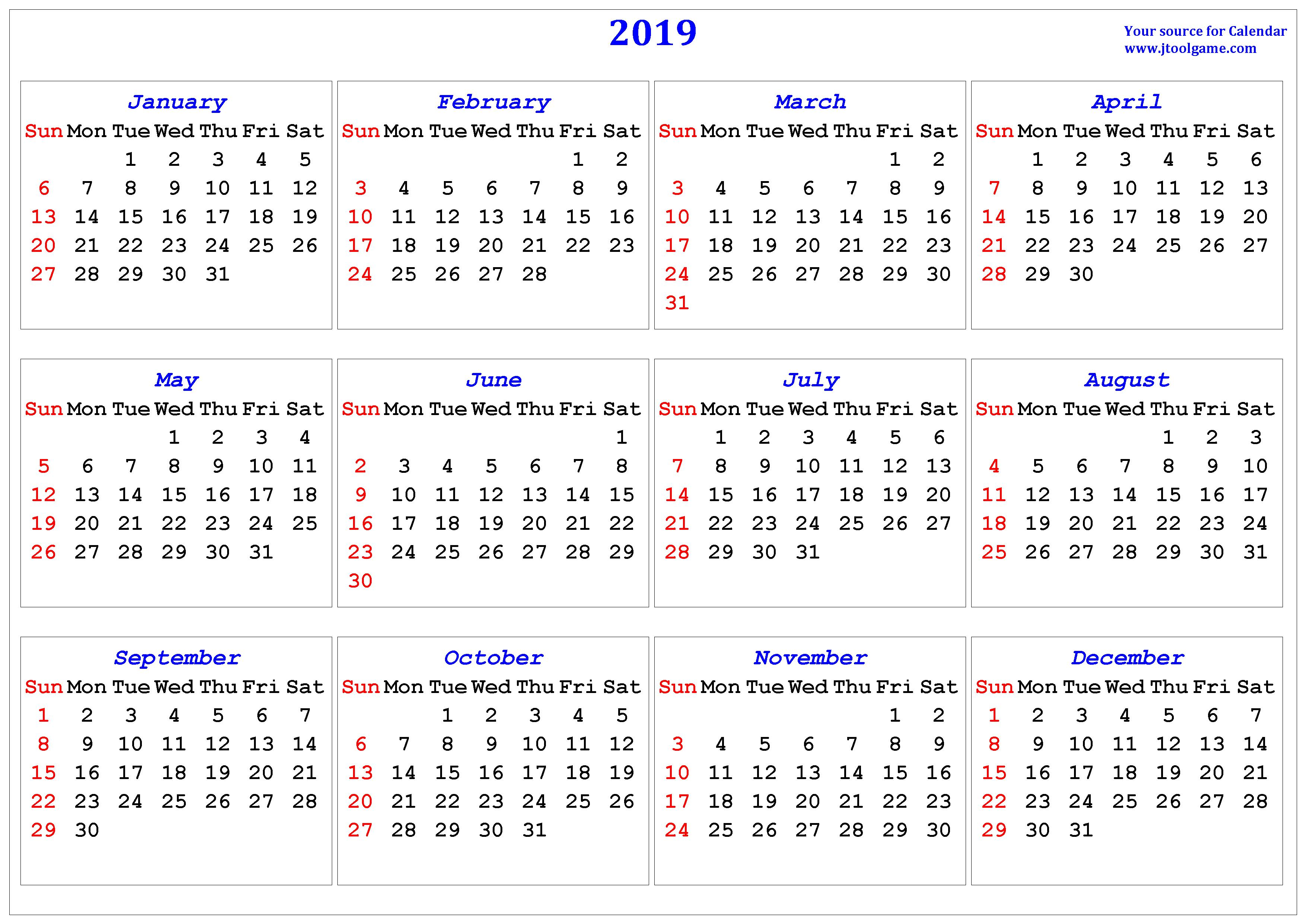 Calendar For Year 2019 United Kingdom With Printable In Multiple Colors