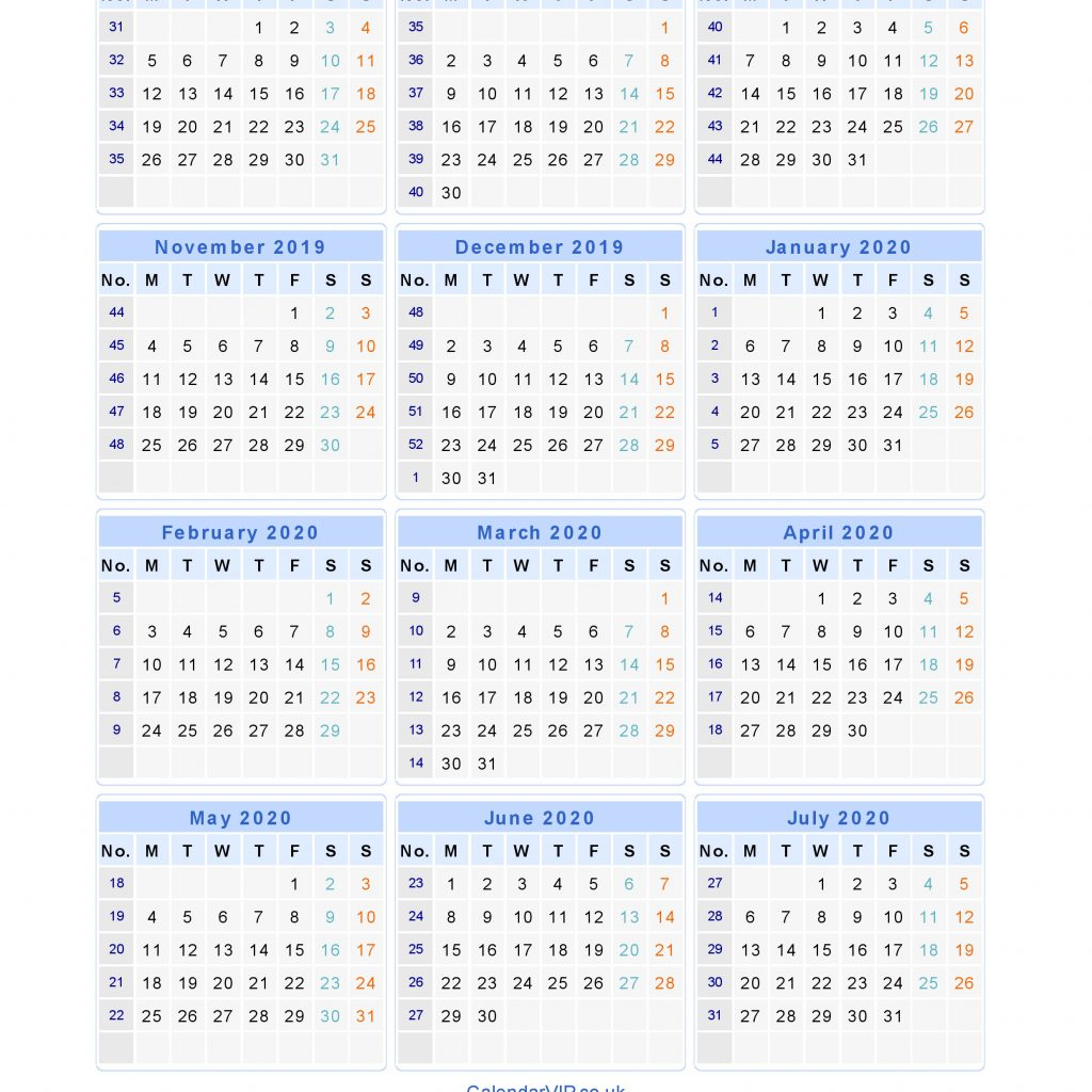 Calendar For Year 2019 United Kingdom With School Calendars 2020 From August To July