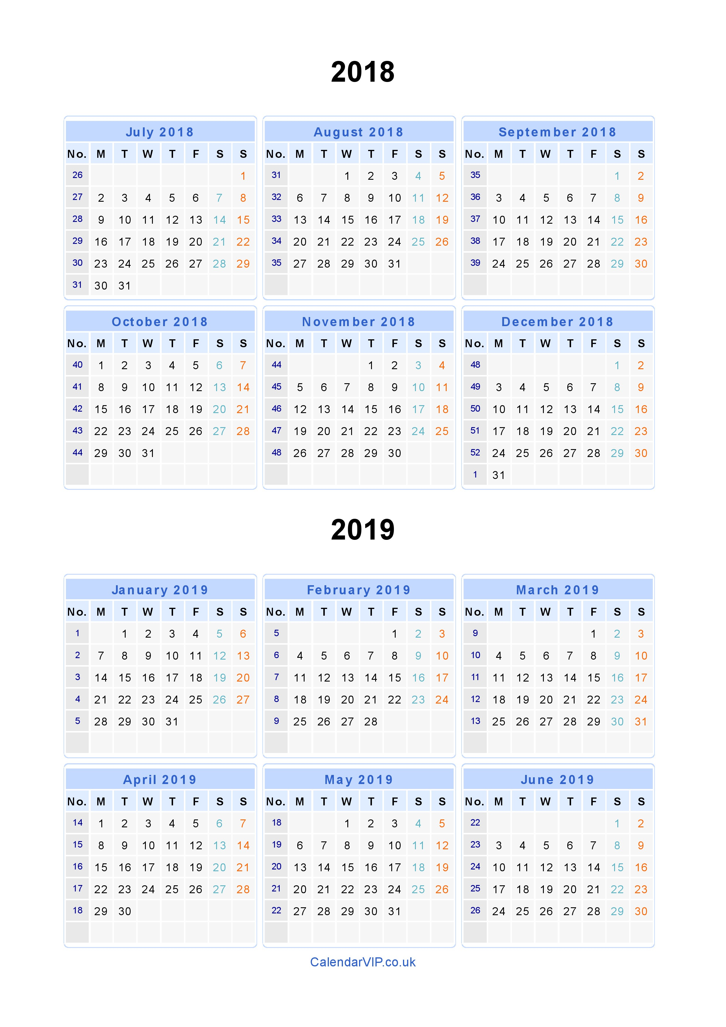 Calendar For Year 2019 United Kingdom With Split Calendars 2018 From July To June