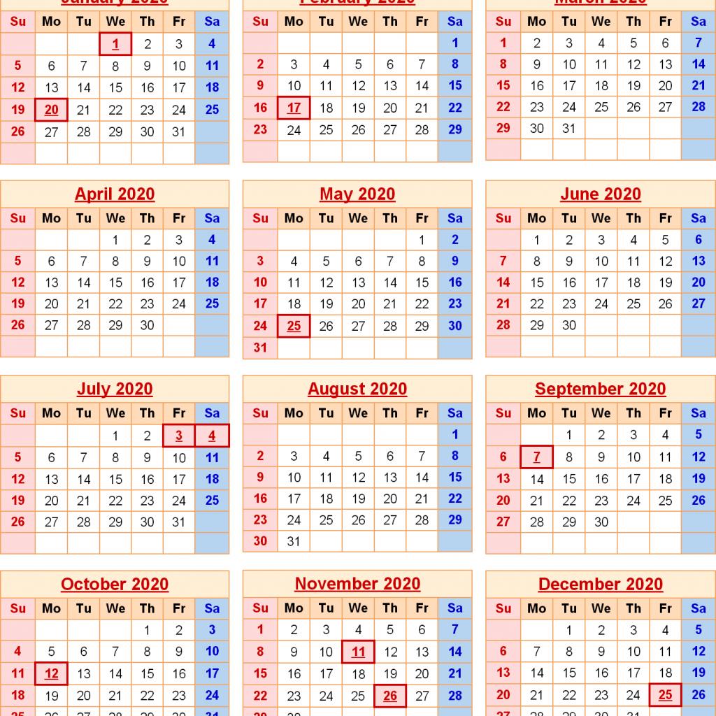 Calendar For Year 2019 United States With 2020 Federal Holidays Excel PDF Word Templates