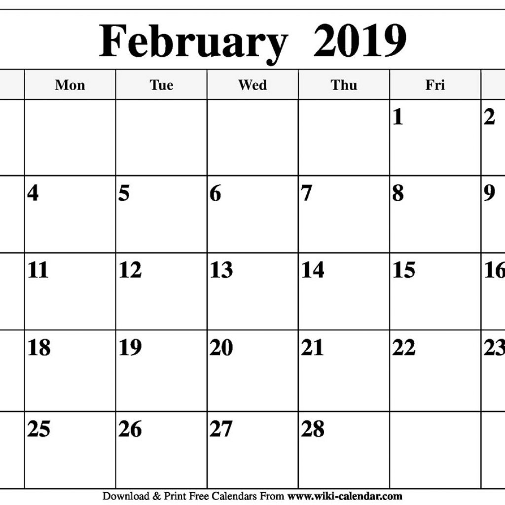Calendar For Year 2019 United States With Blank February Printable