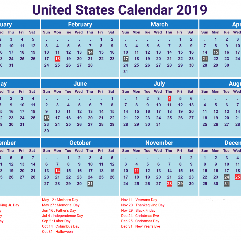 Calendar For Year 2019 United States With Free Download Blank School Holidays USA America