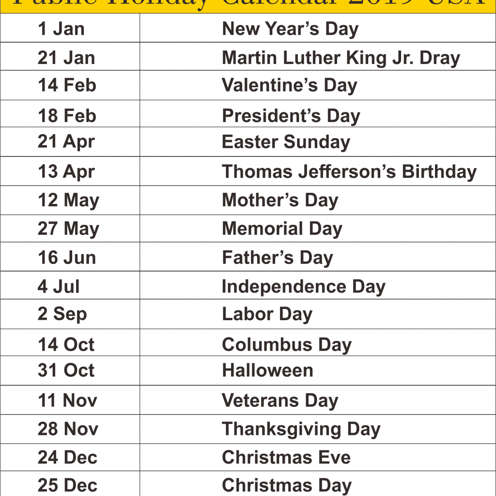 Calendar For Year 2019 United States With Free USA State Of America Public Holidays