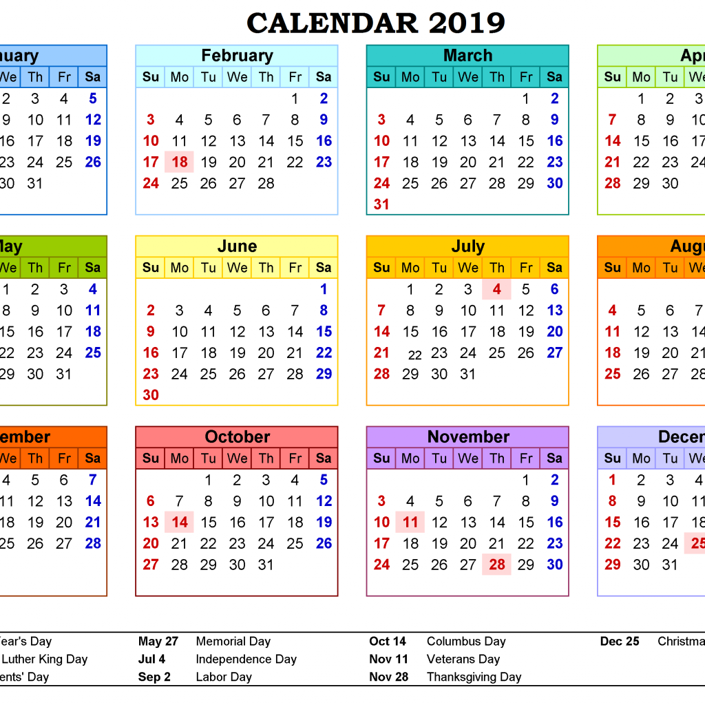 Calendar For Year 2019 United States With Get Free Printable Canada Holidays November