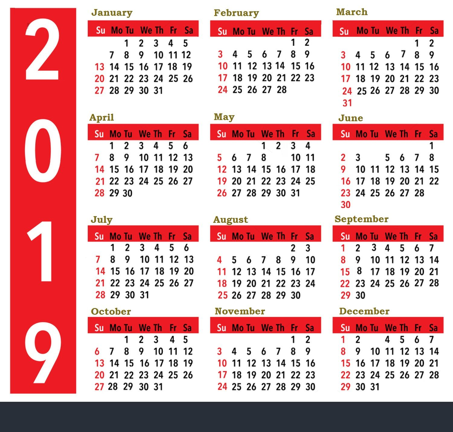 Calendar For Year 2019 United States With Holidays All Important Dates And