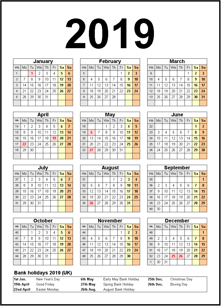 Calendar For Year 2019 United States With Printable Holidays Monthly