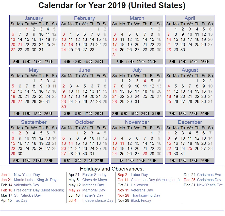 Calendar For Year 2019 United States With Printable