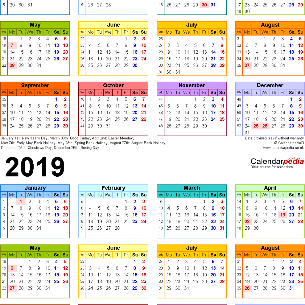 Calendar For Year 2019 United States With Two Calendars 2018 UK PDF
