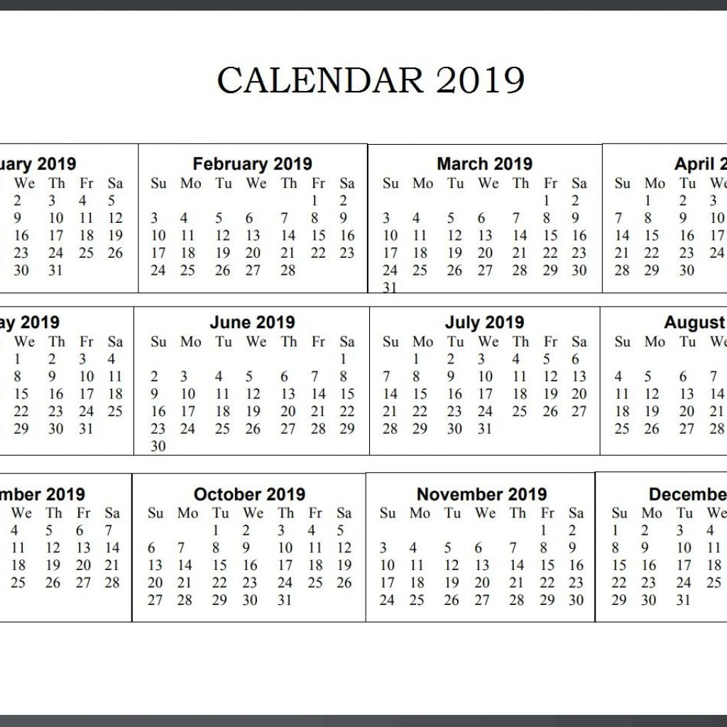 Calendar For Year 2019 United States With Wall Monthly Templates