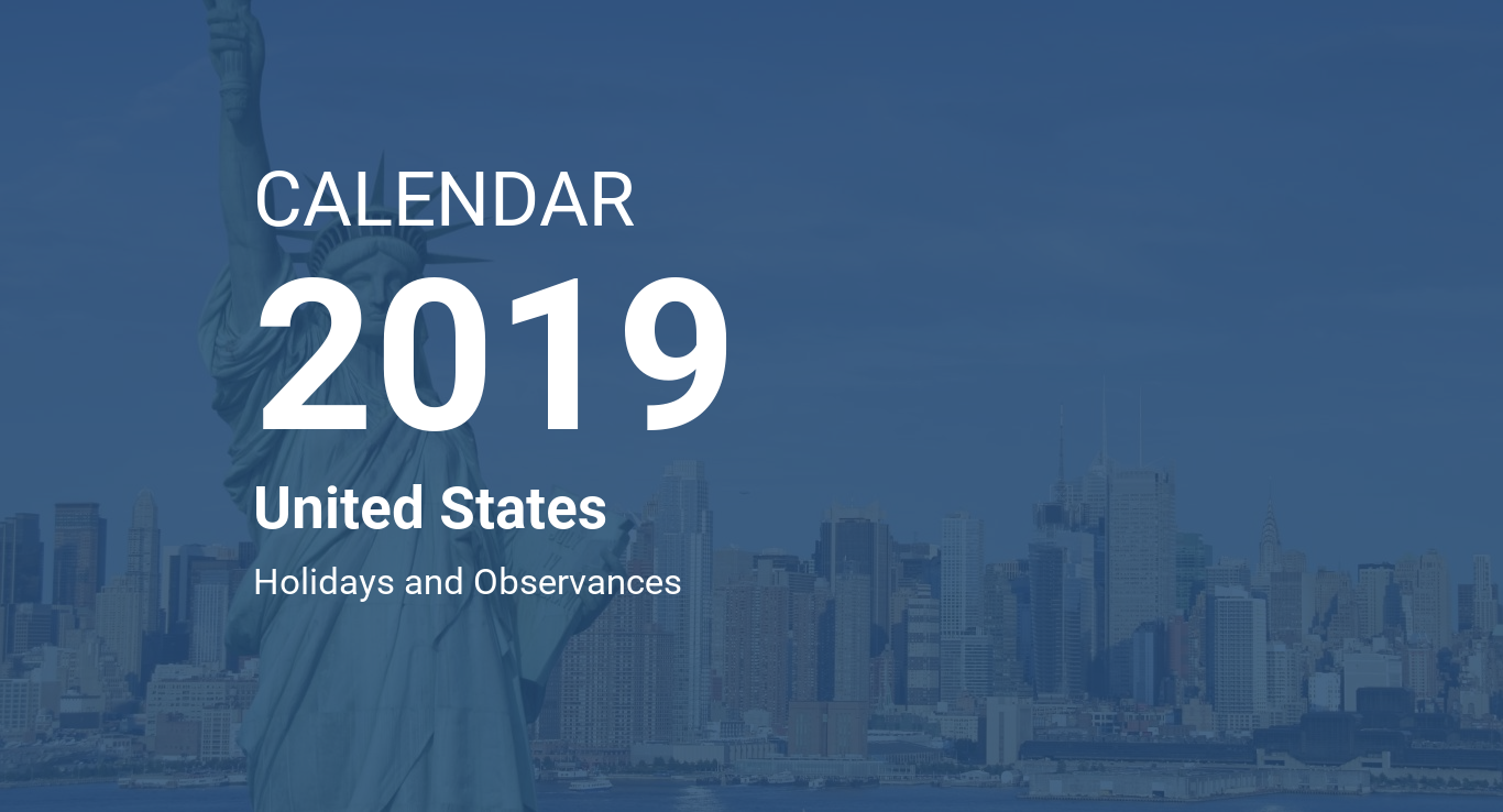 Calendar For Year 2019 United States With