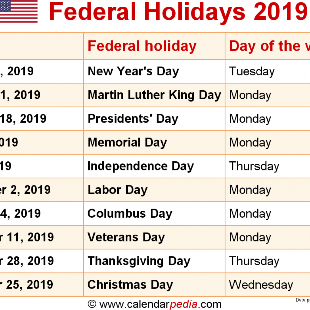 Calendar For Year 2019 Us With Federal Holidays