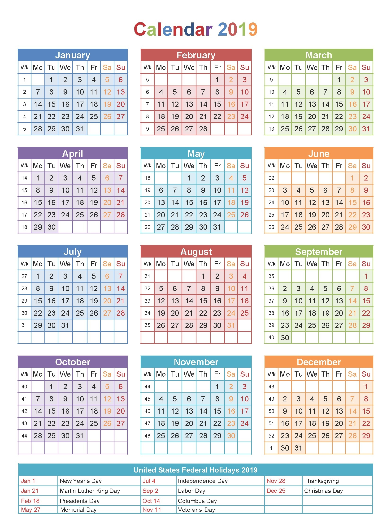 Calendar For Year 2019 Us With Free Printable Blank USA Holidays April 2018